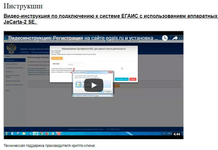 Раздел «Инструкции» на официальном сайте ЕГАИС
