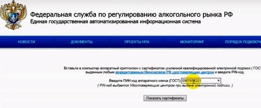 Ввод пин-кода токена при входе в личный кабинет на официальном сайте ЕГАИС
